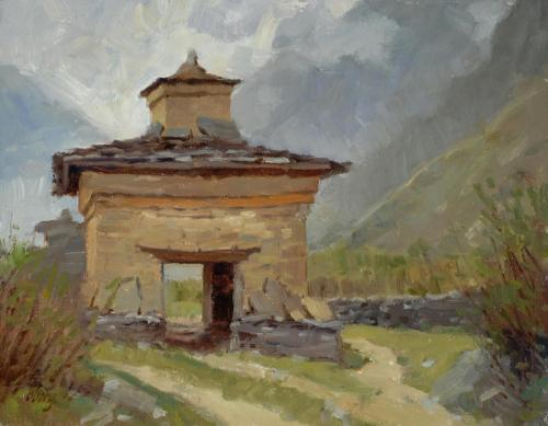 Oberg - 2010, Old Kani near Phurbe, Tsum Valley, Nepal, 11x14